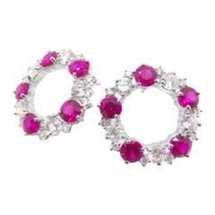 18 Karat White Gold Ruby and Diamond Alternate Stud Loop Earrings