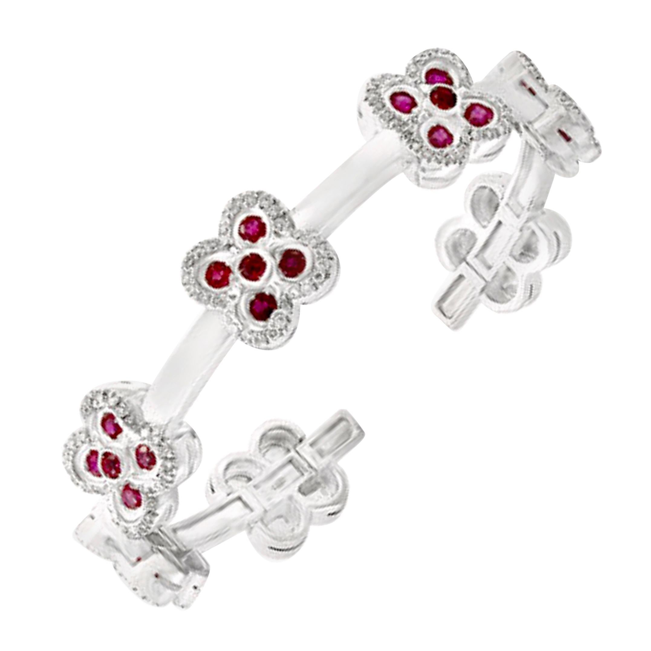 Ruby and Diamond and Gold 37 Grams Cuff Bangle /Bracelet in 18 Karat White Gold