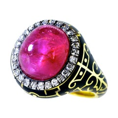 Ruby and Diamond Antique Ring, AGL Certified Natural and Unheated, circa 1895