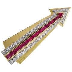 Ruby and Diamond Arrow Brooch