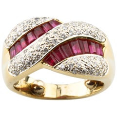 Ruby and Diamond Baguette Cut 18 Karat Yellow Gold Twist Band Ring