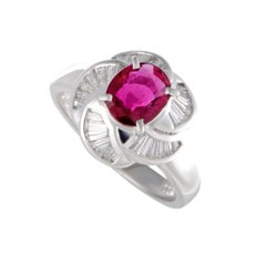Ruby and Diamond Baguette Platinum Cocktail Ring
