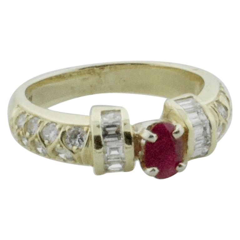 Ruby and Diamond Band Ring in 18 Karat Yellow Gold