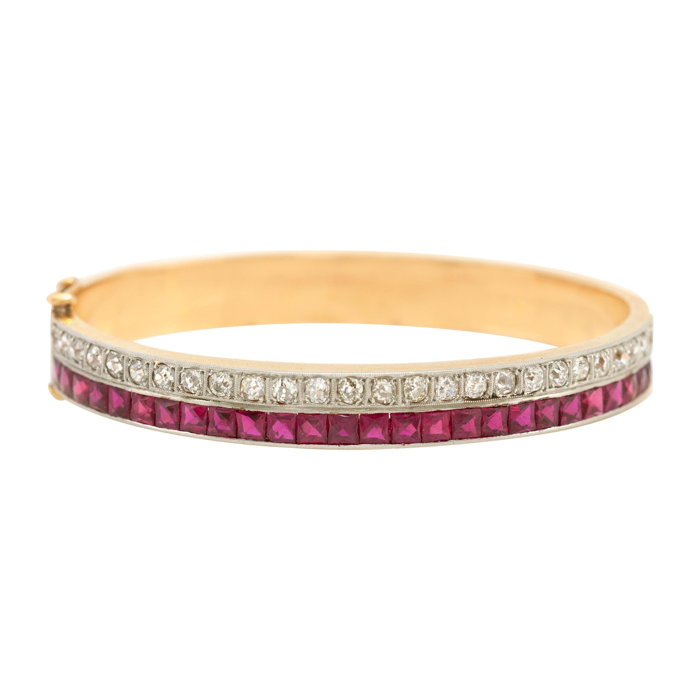 Ruby and Diamond Bangle Bracelet