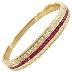 Ruby and Diamond Bangle Bracelet in 18K Yellow Gold