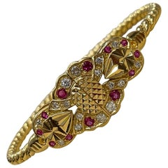 Ruby and Diamond Bangle or Bracelet in 21 Karat Yellow Gold 34.6 Grams