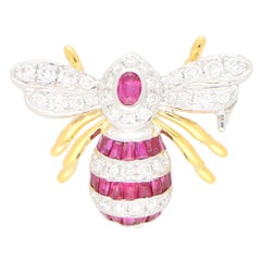 Ruby and Diamond Bee Brooch Pin Set in 18k Yellow and White Gold