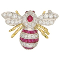 Ruby and Diamond Bee Brooch Set in 18 Karat Yellow and White Gold