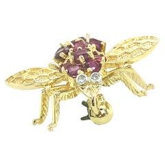 Ruby and Diamond Bee Pin