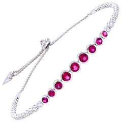 Ruby and Diamond Bezel Set Bolo Bracelet
