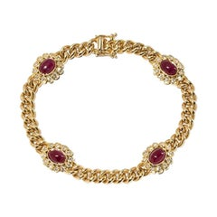 Ruby and Diamond Bracelet in 14 Carat Yellow Gold