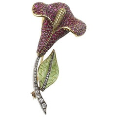 Ruby and Diamond Calla Lily Brooch