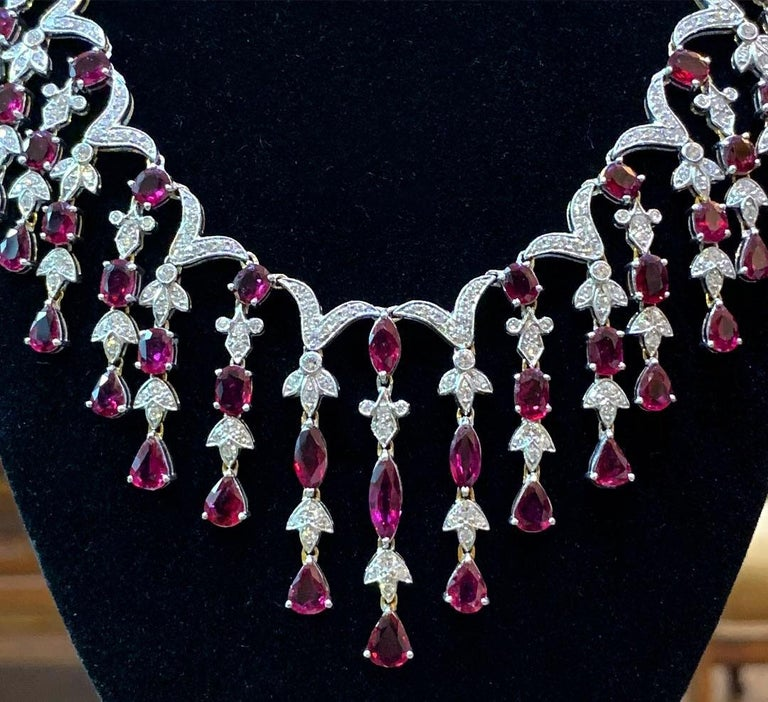 Marquise Cut Ruby and Diamond Cascade Necklace and Earring Set For Sale