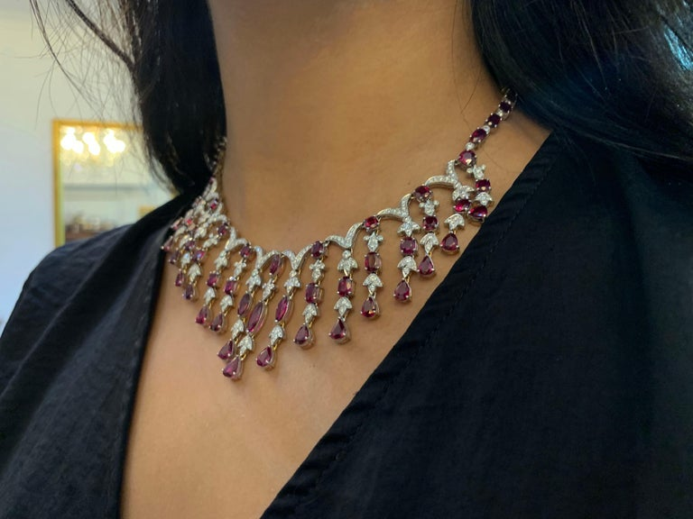 Women's Ruby and Diamond Cascade Necklace and Earring Set For Sale