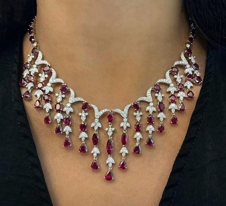 Ruby and Diamond Cascade Necklace and Earring Set For Sale 2
