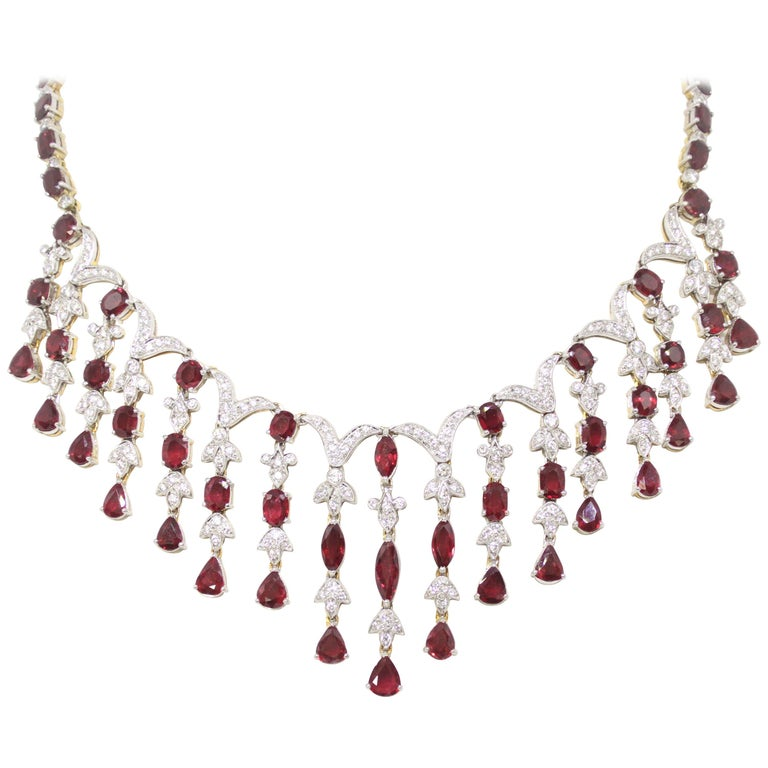 Ruby and Diamond Cascade Necklace and Earring Set For Sale