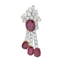 Ruby and Diamond Chandelier Earrings 18 Karat Gold