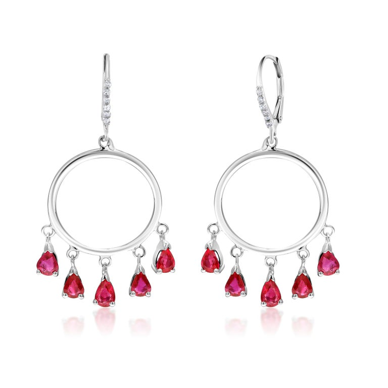 Contemporary Ten Pear Shape Dangle Ruby and Diamond White Gold Double Circle Hoop Earrings For Sale
