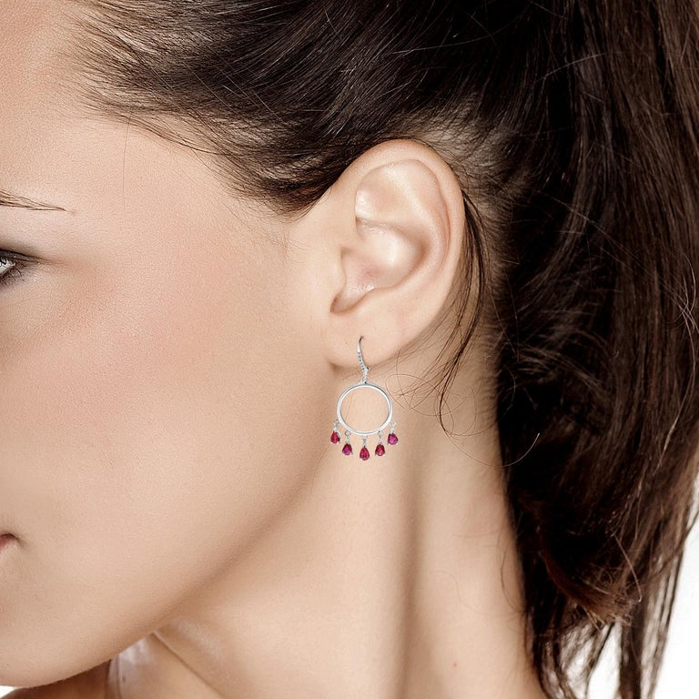 Pear Cut Ten Pear Shape Dangle Ruby and Diamond White Gold Double Circle Hoop Earrings For Sale