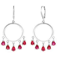 Ten Pear Shape Dangle Ruby and Diamond White Gold Double Circle Hoop Earrings