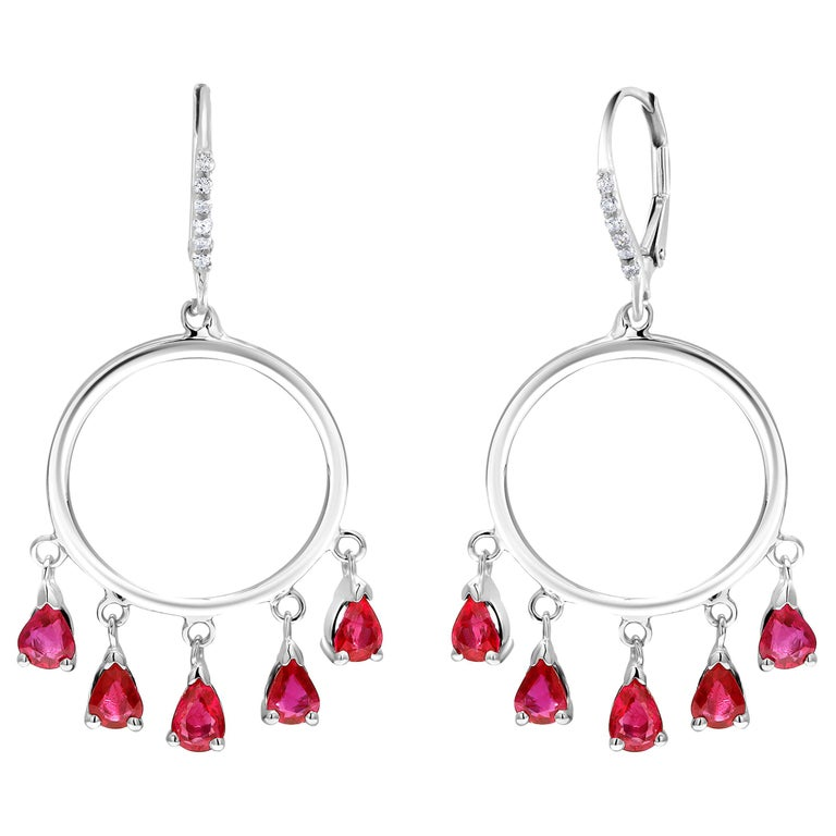 Ten Pear Shape Dangle Ruby and Diamond White Gold Double Circle Hoop Earrings For Sale