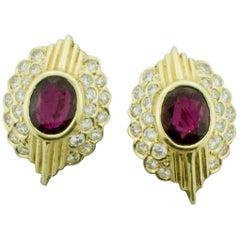 Ruby and Diamond Clip Earrings in 18 Karat '4.50 Carat in Rubies'