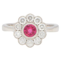 Ruby and Diamond Cluster Engagement / Cocktail Ring Set in 18 Karat White Gold