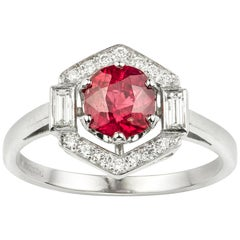 Ruby and Diamond Cluster Hexagonal Ring