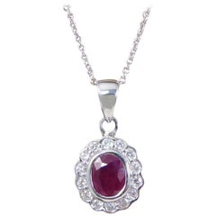 Ruby and Diamond Cluster Pendant Necklace with a 18 Carat White Gold Chain