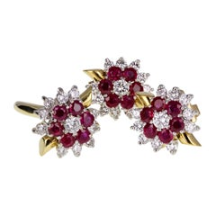Ruby and Diamond Cluster Ring and Earrings Suite