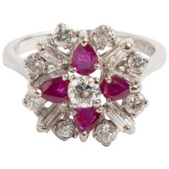Ruby and Diamond Cluster Ring, Classically Styled, circa Mid-1960s