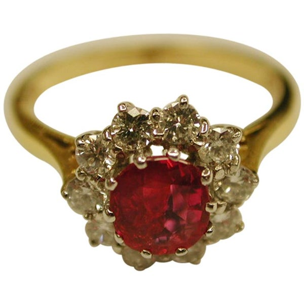 Ruby and Diamond Cluster Ring Set in 18 Carat, Dated 1990, London Assay