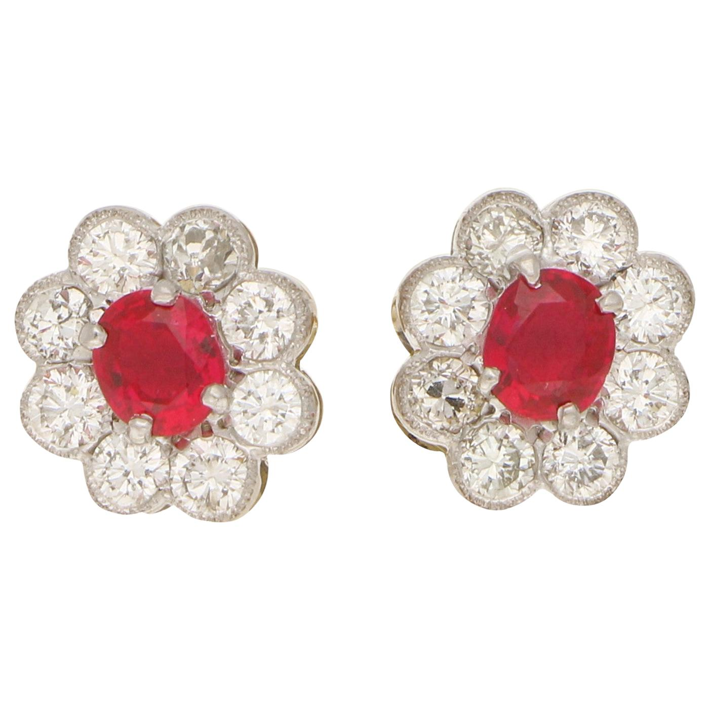 Ruby and Diamond Cluster Stud Earrings Set in 18 Karat Yellow and White Gold