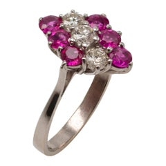 Ruby and Diamond Cocktail Cluster Ring 18 Karat White Gold