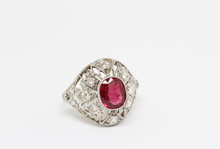 Art Deco Ruby and Diamond Cocktail Ring, circa 1920s For Sale