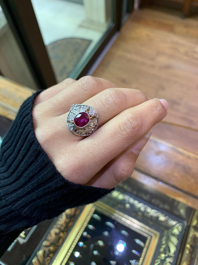 Oval Cut Ruby and Diamond Cocktail Ring, circa 1920s For Sale