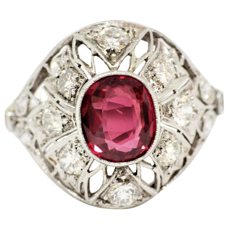 Ruby and Diamond Cocktail Ring, circa 1920s For Sale