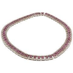 Ruby and Diamond Collar Necklace 14 Karat White Gold