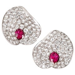 "Ruby and Diamond Contemporary ""Petal"" Earrings in White Gold"