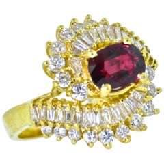 Ruby and Diamond Contemporary Gold Ring