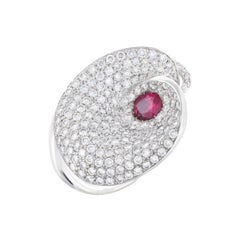 Ruby and Diamond Contemporary Cocktail Ring in White Gold