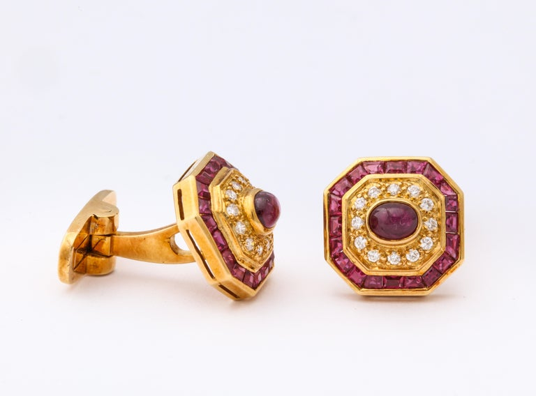 Ruby and Diamond Cuff-Links For Sale 4