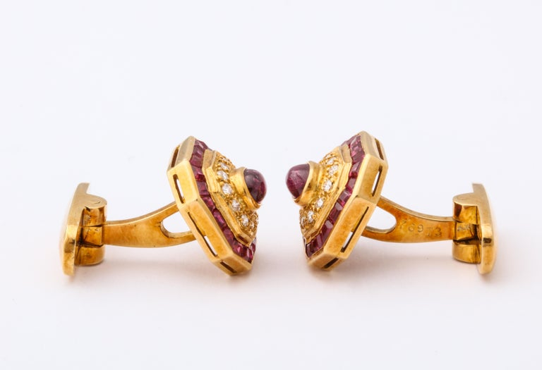 Ruby and Diamond Cuff-Links For Sale 5