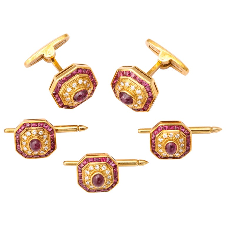 Ruby and Diamond Cuff-Links For Sale