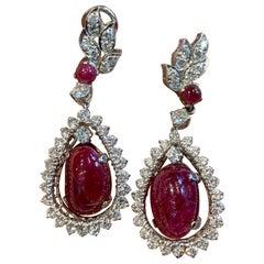 Ruby and Diamond Dangle Drop Earrings