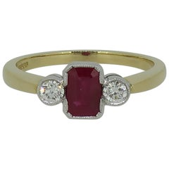 Ruby and Diamond Deco Style Three-Stone Ring 18 Karat Yellow and White Gold