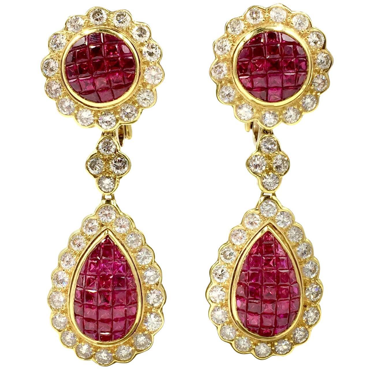 Ruby and Diamond Drop 18 Karat Yellow Gold Earrings