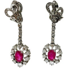 Ruby and Diamond Drop Earrings in 18 Karat White Gold