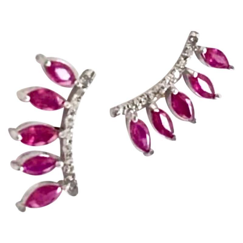 Ruby and Diamond Ear Cuff Climber Earrings 18 Karat Gold
