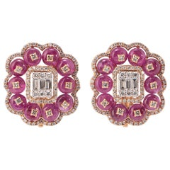 Ruby and Diamond Earring Studs